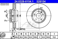 Front brake disc (300mm) P3 S60 II/V60 S80 II/V70 III/XC70 III slotted