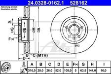 Front brake disc (316mm) P3 S60 II(XC)/V60(XC) S80 II/V70 III/XC70 III slotted