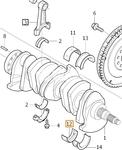 Crankshaft slide bearing shell lower YELLOW 5 cylinder engines (2008-/ENG 626701-) D3/D4/2.4D/D5